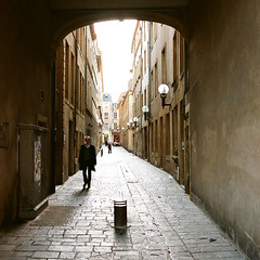 "Metz (Peter Gutierrez) Tags: photo europe european la france french français française lorraine moselle metz city town urban street streets people person persons gothic heritage architectural architecture ancient monument monuments historic history historiques ancienne square format peter gutierrez ""peter gutierrez"" favemegroup4 sidewalk pavement public film photograph photography"