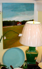 Painting, Lamp and Blue Dish
