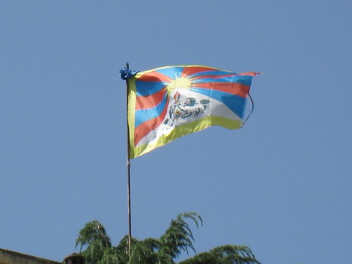 A Tibetan flag proudly flies above McLeod Ganj
