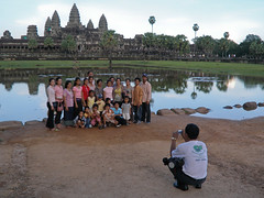 Angkor Wat with tourists at front
