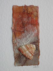 Orange card with shell (Helen~Smith) Tags: uk orange brown collage paper natural recycled embroidery mixedmedia shell card etsy stitched textileart beachcombing