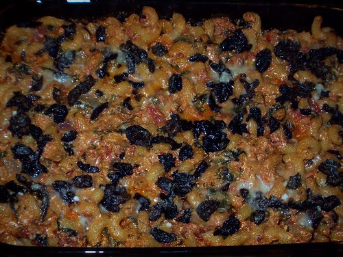 baked pasta with tomatoes olives sausage