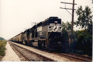 Southbound Norfolk Southern RR transfer train heading southbound over the Belt Railway of Chicago tracks. Photographed near West 63rd Street in Chicago Illinois. September 1987.