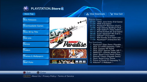 Mock-up of US Playstation Store with Burnout Paradise on it