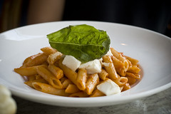 Pasta with mozzarella and basil