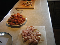 Diced chicken, italian sausage, potatoes