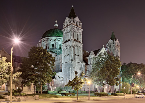 Cathedral Basilica of Saint Louis, in Saint Louis, Missouri, USA - exterior at night