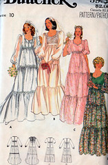 B5928 (sandritocat) Tags: vintage uncut dress 10 or size prom empire 70s gown bridal tiered butterick 5938 riffled