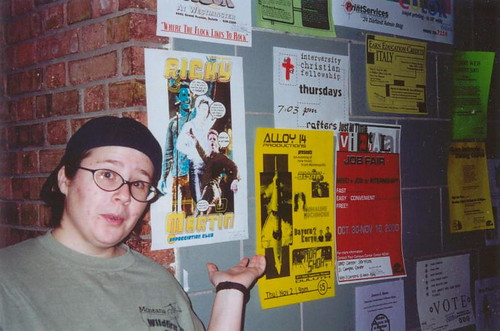 Putting up posters for the Ricky Martin Appreciation Club, 2000.