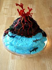 Volcano Cake: View From Above (chirky) Tags: ocean volcano lava shark dinosaur birthdaycake volcanocake kidscake