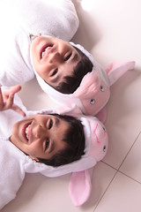 Smiles of the lambs (explored) (Ghadeer Q) Tags: family costumes portrait white halloween boys kids canon costume kid cousins double explore kuwait sibling omar silenceofthelambs q8 abdulla   canon24105 ghadeeq explore20080927124