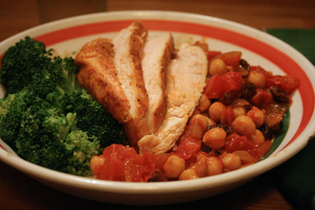 Chicken and Broccoli with Chickpea Sauce