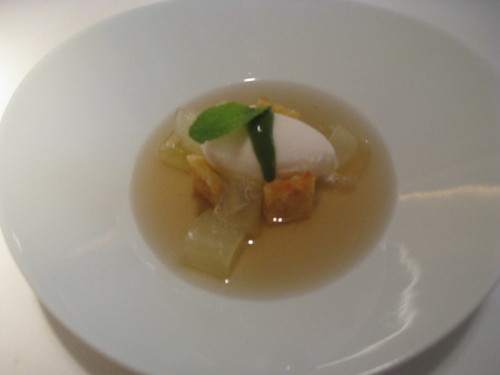 Barcelona, Alkimia: Melon, Lychees, Ginger Water, with Lemon Ice Cream