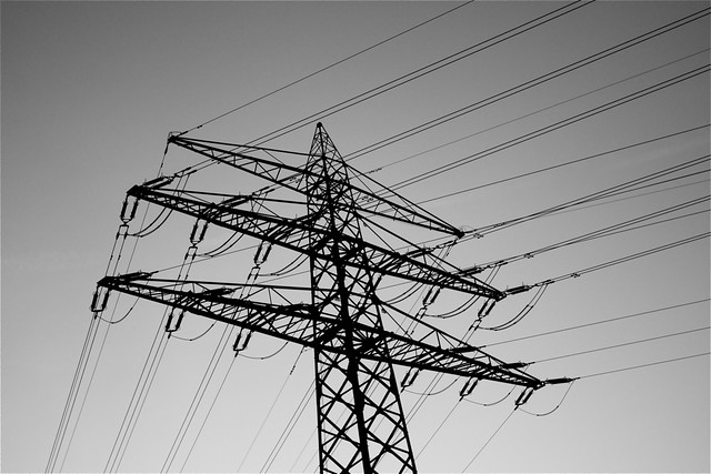 high voltage in black and white