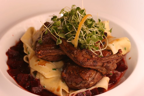 Squab with tagliatelle and beets