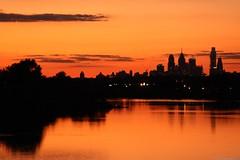 Philadelphia On Fire (Harpo42) Tags: park sunset sky orange reflection philadelphia water skyline newjersey view camden pa reflect philly westmont afar collingswood pennsauken cooperriverpark