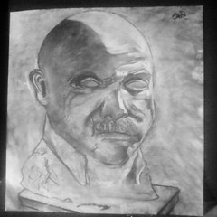 Charcoal and Chalk (E.A.F.) Tags: 2 stilllife art head drawing bald charcoal hours 2008 sidelight fall08 stevecope basicdrawing