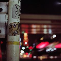 guardrail (F_blue) Tags: streetart tokyo sticker kodak hasselblad tokyotower roppongi  graffitiart  500cm portra160nc  planart c8028 fblue2008