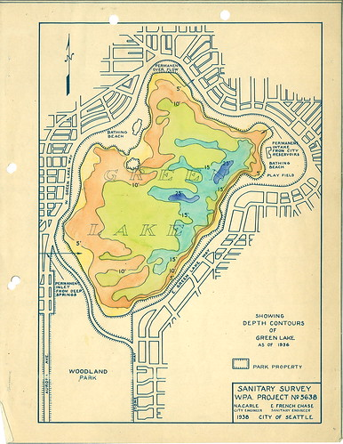 Green Lake depth contour map, 1938