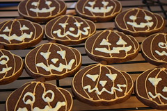 Halloween Pumpkin Cookies (ConsumedbyCake) Tags: halloween cookies healthy chocolate or pumpkins seeds treat trick dates apricots consumedbycake bloggedhalloween