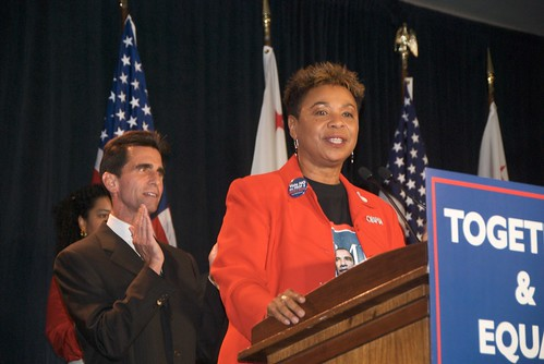 """Rep Barbara Lee on Prop 8 election night"" by Steve Rhodes on flickr"