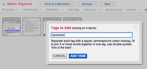 Captura de pantalla del Organize de Flickr poniendo el tag alpasado a cuatro fotos