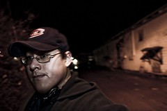 Me in alley (Zach Bonnell) Tags: night newfoundland canonxt townsquare gander canon430ex tamron1750