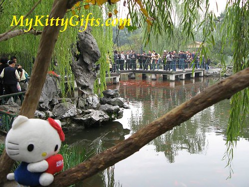Hello Kitty Climbing Tree in Red Carp Lake of Peony Garden, HangZhou