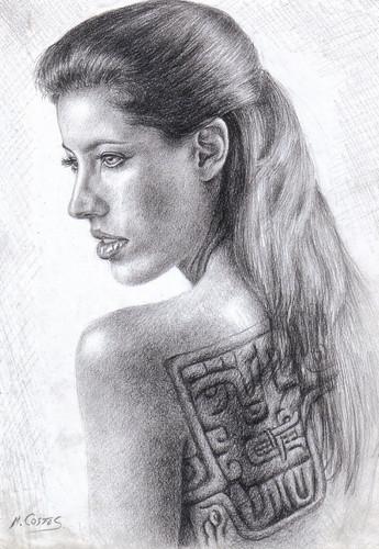 dibujos de los tatuajes. Mujer con tatuajes Chavinoides