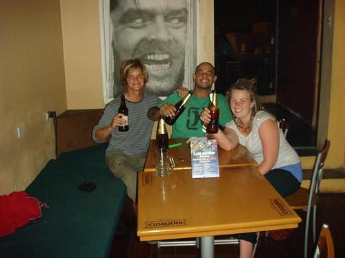 Me, Brazilian Marcelo and US Kitty at Loki Hostal, Lima - Peru...