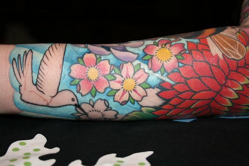 Zinnia and Hummingbird Tattoo