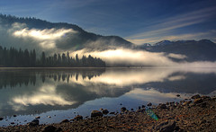 Fog reflections (TomFalconer) Tags: california lake mountains water weather fog clouds reflections searchthebest nevada sierra symetrical glassy cirrus donner truckee infinestyle