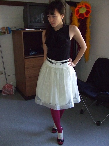 Black Ruffle Top, bought in Austin; Cream bubble skirt, handmade; Pink tights, Hue