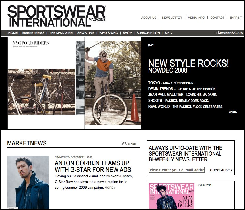 sportswear international mag screen shot
