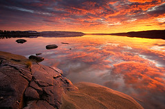 A Place Of Solitude (Anders Hagen-Nsset) Tags: sunset sky reflection beach norway clouds landscape searchthebest hole fineart nordic scandinavia ask waterscape ringerike tyrifjorden rsholmstranda andersnsset