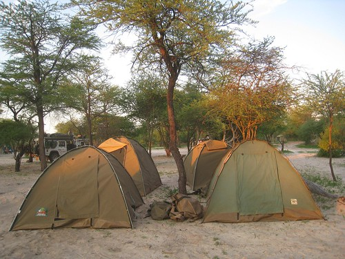 Our camp at sunset, Elephant Sands
