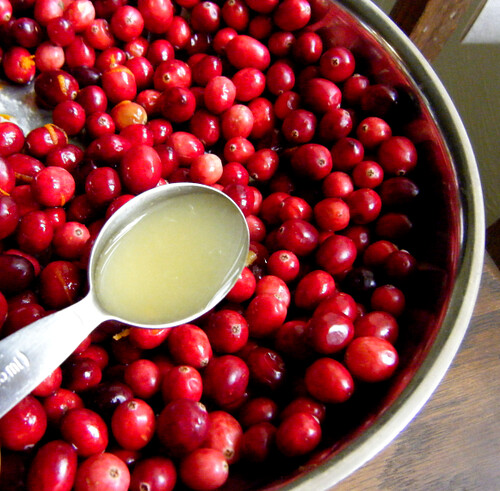 Adding lemon juice to cranberries