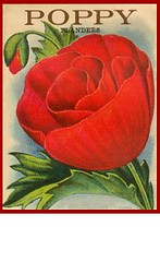 Vintage Poppy (Home and Heart) Tags: flowers red flower vintage garden image label seed poppy packet