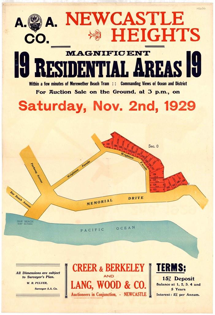 M1606 - Newcastle Heights (Bar Beach) subdivision plan, Saturday November 2, 1929.