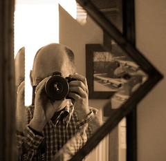Reflections on Self (Road Fun) Tags: portrait blackandwhite bw selfportrait me sepia race self mirror mixed nikon texas sp artisticexpression mywinners d40x 55200mmvr