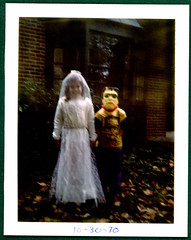 Halloween Frankenstein Costumes Monster & Bride 1970 (Brechtbug) Tags: monster frankenstein 1970 bride halloween costume polaroid photograph holiday 70s kids ben cooper mask photo family life portrait 1960 1960s toy horror creature a sister me frankensteins front yard for lancaster pennsylvania pa 60s 1970s credit shirley reed brechtbug collegeville halco
