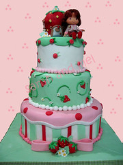 strawberry shortcake (perfect_cakes) Tags: pink cake birthdaycake strawberryshortcake fondant