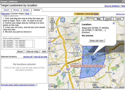 Custom geographic targeting in AdWords