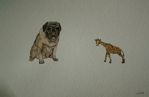 Watercolor of Disinterested Pug With Toy Giraffe
