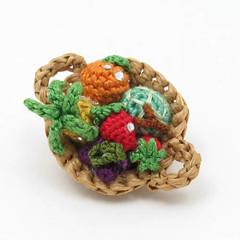 Crochet Fruits Bascket Pin (enna design) Tags: food fruits miniature strawberry pin brooch crochet pineapple tropical amigurumi bascket