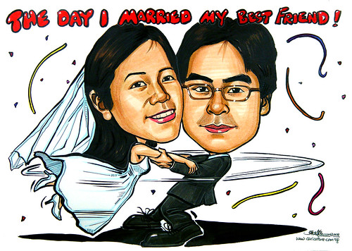 Couple wedding caricatures The day I Married My Best Friend