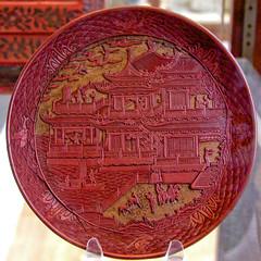 BK043 Red Lacquer Plate (listentoreason) Tags: uk red england color london museum canon europe unitedkingdom britain favorites eu places material britishmuseum europeanunion lacquer greatbritian ef28135mmf3556isusm score30