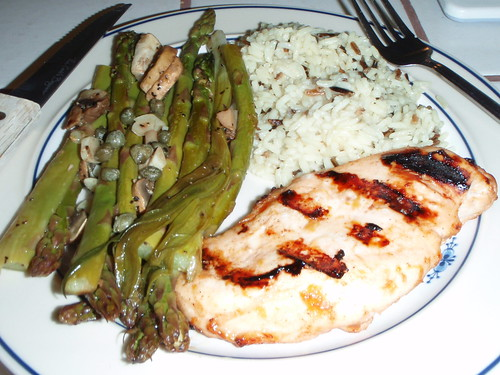 Foil wrapped Asparagus with Peach BBQ sauced Chicken and Wild rice.