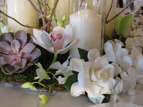 Centerpiece, Centerpiece Tall pillar candles, Gardenia, Succulents, Orchids and branches, wedding invitation, flowers, photos