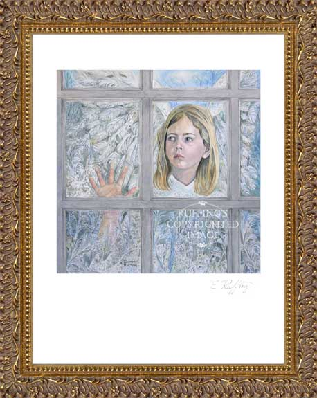 """The Frost Angel"" ER19 Watercolor Print by Elizabeth Ruffing, Framed"
